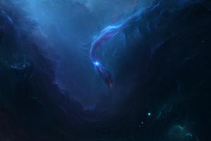 Neon Space Nebula 4k
