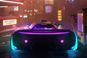 Neon Street Scifi Vehicle 4k Wallpaper