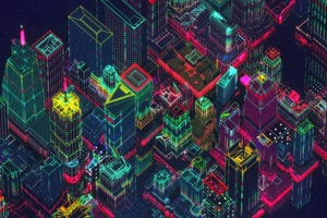 Neon Synthwave Buildings