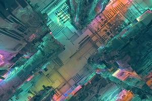 Neon Tech City Wallpaper