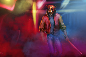 Neon Tiger Synhtwave Darkwave 4k Wallpaper