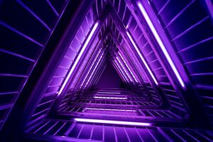 Neon Triangle Architecture 4k