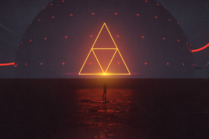 Neon Triangle Digital Art Wallpaper