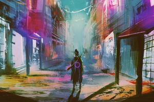 Neon Urban Warrior 4k