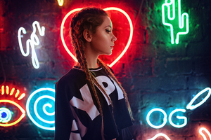 Neon Wall Behind Girl