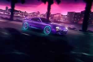 NeonNight Toyota Supra 5k Wallpaper