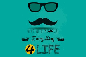 Nerd With Mustache Wallpaper