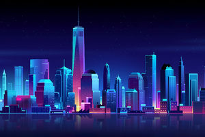 New York Buildings City Night Minimalism Wallpaper