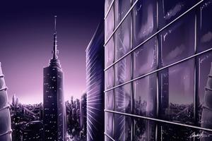 New York Buildings Digital Illustration 4k Wallpaper