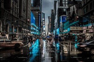 New York City Street Reflection Motion Blur Dark 4k Wallpaper