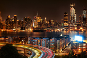 New York City View From New Jersey 4k At Night Wallpaper