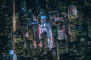 New York Dark City Night Lights Buildings View From Top 5k