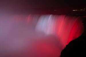 Niagara Falls Waterfall Red Backlight 5k