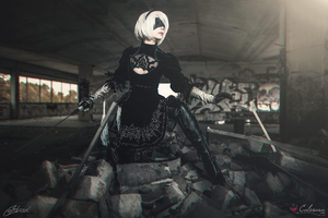 Nier Automata Cosplay Artwork Wallpaper