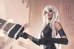Nier Automata Cosplay Girl With Big Sword 4k