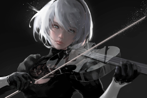 Nier Automata Playing Music 4k