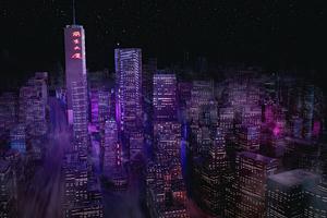 Night City Buildings Minimal 4k Wallpaper