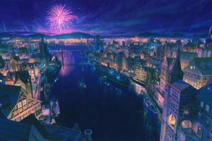 Night City Port 4k Wallpaper
