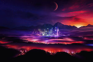 Night City Stars Planets Moon Manipulation