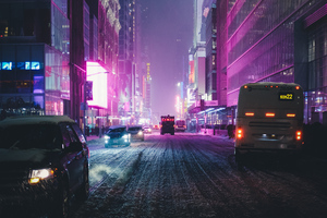 Night City Street Neon Lights 4k