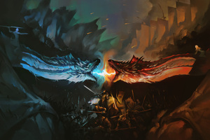 Night King And Khaleesi Fighting With Dragons Artwork