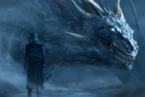 Night King Blue Eyes White Dragon Wallpaper