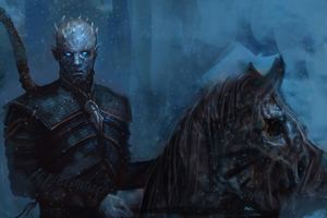 Night King With Horse Wallpaper