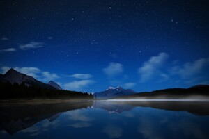 Night Landscape Mountains Reflection Wallpaper