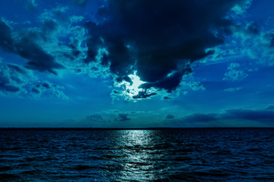 Night Moon Sea Sky Blue 4k Wallpaper