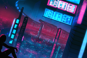 Night Neon Alone Girl Cyberpunk 5k