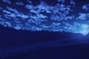 Night Road Blue Weather Forest Stars 4k Wallpaper