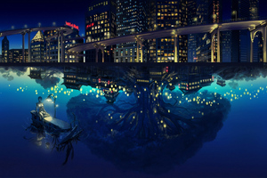 Night Sea Reflections Lights Wallpaper
