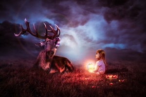 Night Sky Deer Fantasy 8k Wallpaper