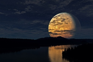 Night Sky Moon River Reflection Wallpaper