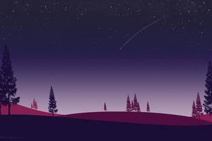 Night Trees Stars In Sky Minimalism Artwork 5k