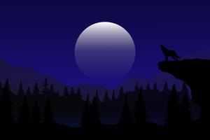 Night Wolf Howling Minimal 4k