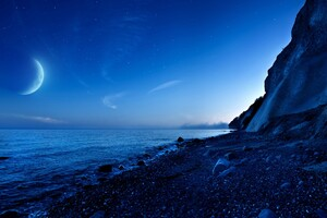 Nightfall Mountain Sea Moon Wallpaper