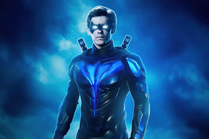 Nightwing Blue Suit 4k Wallpaper