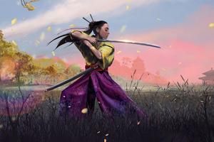 Ninja Girl With Sword Wallpaper