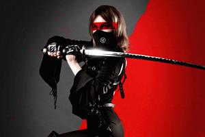 Ninja Girl With Sword Black Dress Wallpaper