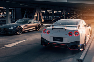 Nissan And Mercedes Amg Gtr Showdown 5k Wallpaper
