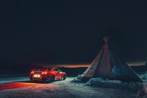 Nissan Gtr Camping 4k Wallpaper
