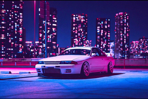 Nissan Skyline R32 Retrowave 4k Wallpaper