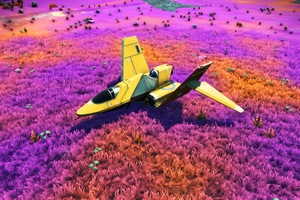 No Mans Sky Game Plane Colorful Fields 4k
