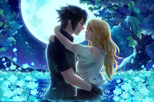 Noctis And Stella From Final Fantasy XV Under The Moon Wallpaper