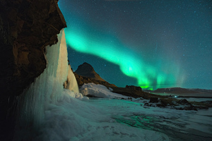 Northern Lights Above Mountains Wallpaper
