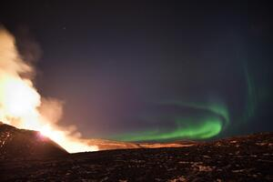 Northern Lights Over The Fagradalsfjall Volcanic Eruption In Geldingadalur In Iceland 5k Wallpaper