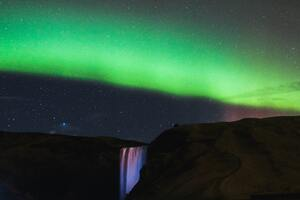 Northern Lights Waterfall Mountains 5k Wallpaper
