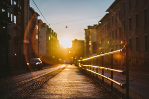 Norway City Sunset Railing 5k Wallpaper