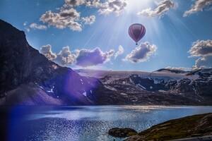 Norway Lake Landscape Air Balloon 5k Wallpaper